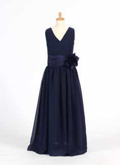 A-Line/Princess V-neck Floor-Length Chiffon Flower Girl Dress With Flower(s) (010007599)