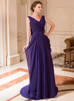 A-Linie/Princess-Linie V-Ausschnitt Sweep/Pinsel zug Chiffon Kleid für die Brautmutter mit Rüschen (008024441)
