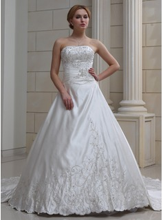 Wedding Dresses Ball-Gown Sweetheart Cathedral Train Satin Wedding Dress With Embroidery Beadwork (002004478)