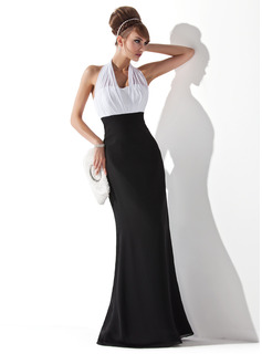 Empire Halter Floor-Length Chiffon Evening Dress With Ruffle (017020321)