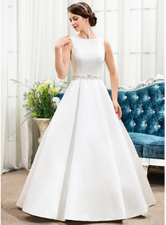 Ball-Gown Scoop Neck Floor-Length Satin Wedding Dress With Beading Sequins (002056197)