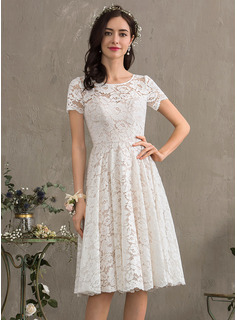 A-Line Scoop Neck Knee-Length Lace Wedding Dress (002186381)