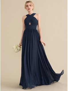 A-Line/Princess V-neck Sweep Train Chiffon Bridesmaid Dress With Ruffle (007153502)