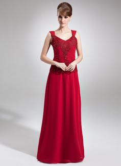 A-Linie/Princess-Linie V-Ausschnitt Bodenlang Chiffon Kleid für die Brautmutter mit Lace Perlstickerei Pailletten (008006256)