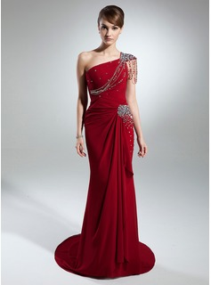 Trumpet/Mermaid One-Shoulder Court Train Chiffon Mother of the Bride Dress With Beading Cascading Ruffles (008015373)