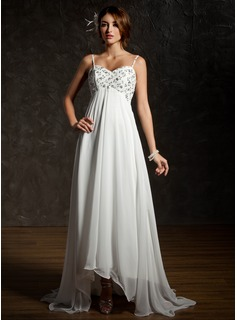 Empire Sweetheart Asymmetrical Chiffon Wedding Dress With Ruffle Lace Beadwork Sequins (002001659)