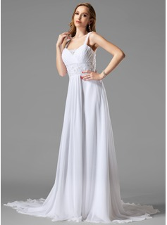 A-Line/Princess Sweetheart Chapel Train Chiffon Wedding Dress With Ruffle Lace Beading (002004113)