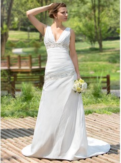 A-Line/Princess V-neck Court Train Taffeta Wedding Dress With Ruffle Beading Sequins (002001407)