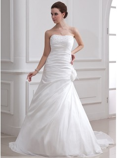 A-Line/Princess Sweetheart Court Train Taffeta Wedding Dress With Ruffle Beading Feather Flower(s) (002001716)