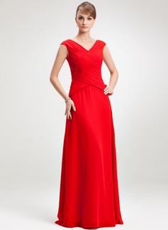 A-Linie/Princess-Linie V-Ausschnitt Bodenlang Chiffon Kleid für die Brautmutter mit Rüschen (008006264)