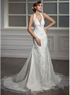 A-Line/Princess Halter Chapel Train Organza Satin Wedding Dress With Ruffle Lace Beading (002012015)