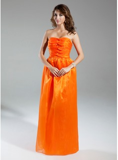 A-Line/Princess Sweetheart Floor-Length Organza Prom Dress With Ruffle (020015330)