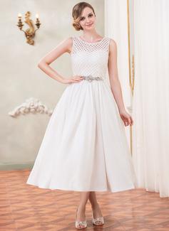 Forme Princesse Col rond Longueur mollet Taffeta Dentelle Robe de mariée avec Emperler Sequins (002050389)