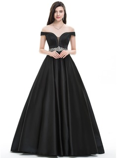 Ball-Gown Off-the-Shoulder Floor-Length Satin Prom Dresses With Beading (018105701)