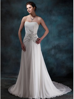 A-Line/Princess Sweetheart Chapel Train Chiffon Wedding Dress With Ruffle Beadwork Sequins (002001680)