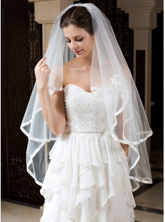 Two-tier Fingertip Bridal Veils With Ribbon Edge (006034330)