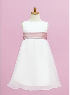 Empire Tea-length Flower Girl Dress - Organza/Satin Sleeveless Scoop Neck With Sash (010005332)