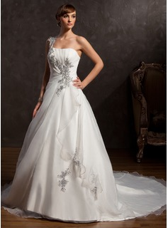 Ball-Gown One-Shoulder Chapel Train Satin Organza Wedding Dress With Ruffle Beading Appliques Lace (002015166)