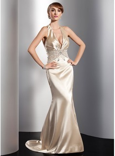Trumpet/Mermaid Halter Sweep Train Charmeuse Evening Dress With Ruffle Beading Sequins (017014822)