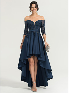 A-Line/Princess Off-the-Shoulder Asymmetrical Satin Evening Dress With Sequins (017167716)
