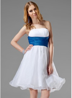 A-Line/Princess Strapless Knee-Length Organza Satin Wedding Dress With Ruffle Sash (002013084)