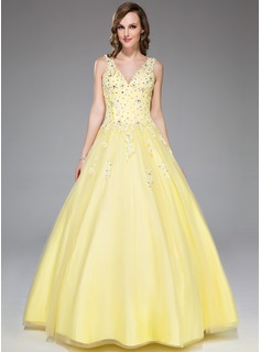 Ball-Gown V-neck Floor-Length Satin Tulle Prom Dress With Lace Beading Sequins (017045177)
