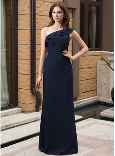 Sheath/Column One-Shoulder Floor-Length Chiffon Charmeuse Bridesmaid Dress With Cascading Ruffles (007027161)