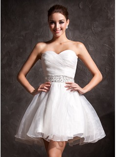 Wedding Dresses A-Line/Princess Sweetheart Short/Mini Organza Wedding Dress With Ruffle Beadwork Sequins (002011383)
