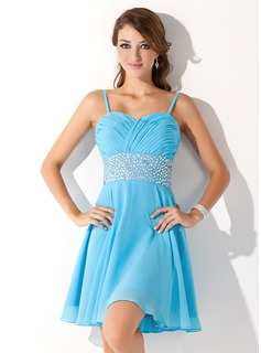 Formal Dresses A-Line/Princess Sweetheart Knee-Length Chiffon Homecoming Dress With Ruffle Beading (022010605)