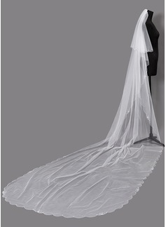Dos capas Con abalorios Velos de novia capilla con La perla de faux (006203722)