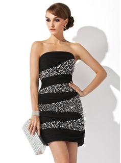 Sheath/Column Strapless Short/Mini Chiffon Cocktail Dress With Ruffle Beading Sequins (016008238)