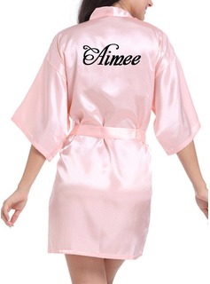 Personalized Bride Bridesmaid Charmeuse With Short Personalized Robes (248188901)