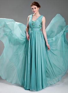 A-Linie/Princess-Linie V-Ausschnitt Bodenlang Chiffon Abendkleid mit Rüschen Perlen verziert Applikationen Spitze (017019725)