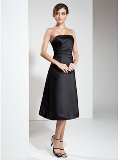 A-Line/Princess Strapless Knee-Length Satin Little Black Dress With Ruffle (043004245)