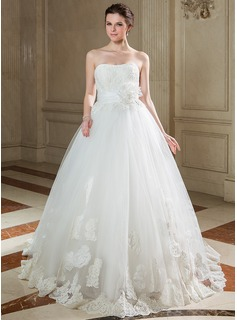 Ball-Gown Sweetheart Sweep Train Taffeta Tulle Wedding Dress With Ruffle Lace Beading Sequins (002040675)