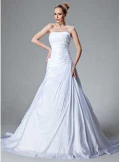 A-Line/Princess Sweetheart Court Train Taffeta Wedding Dress With Ruffle Lace Beading (002000827)