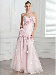 Formal Dresses Online A-Line/Princess Sweetheart Floor-Length Organza Evening Dress With Ruffle Flower(s) (017005271)