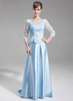 A-Linie/Princess-Linie V-Ausschnitt Sweep/Pinsel zug Charmeuse Kleid für die Brautmutter mit Perlstickerei Applikationen Spitze Pailletten (008006181)