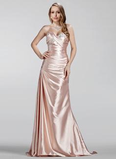 A-Linie/Princess-Linie Herzausschnitt Sweep/Pinsel zug Charmeuse Abendkleid mit Rüschen Perlen verziert (017020330)