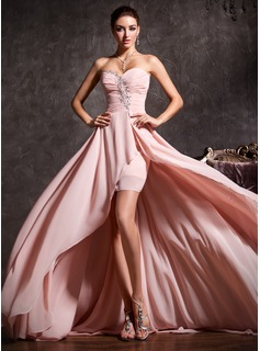 A-Line/Princess Sweetheart Asymmetrical Chiffon Prom Dresses With Ruffle Beading (018020814)