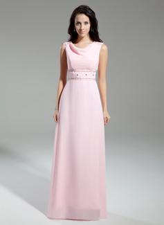 A-Linie/Princess-Linie Cowl Neck Bodenlang Chiffon Kleid für die Brautmutter mit Perlen verziert (008014943)
