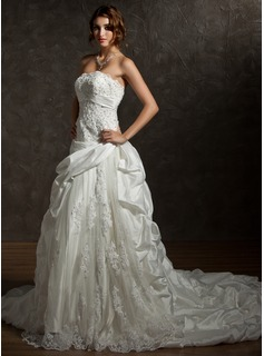 Ball-Gown Strapless Chapel Train Taffeta Lace Wedding Dress With Ruffle Beading Sequins (002012036)