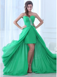 A-Line/Princess Sweetheart Asymmetrical Chiffon Evening Dress With Ruffle Beading (017017379)