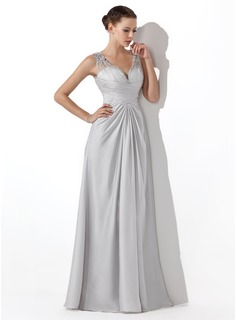 A-Line/Princess V-neck Floor-Length Satin Chiffon Prom Dress With Ruffle Beading (018004815)