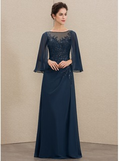 A-Line Scoop Neck Floor-Length Chiffon Lace Mother of the Bride Dress With Sequins (008179220)