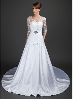 A-Line/Princess V-neck Cathedral Train Satin Tulle Wedding Dress With Lace Beading Sequins (002015367)