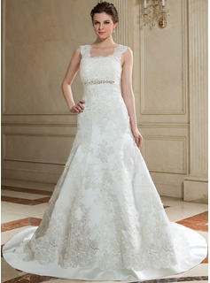 Trumpet/Mermaid Square Neckline Chapel Train Satin Tulle Wedding Dress With Lace Beading (002011417)
