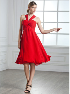 Cocktail Dresses Empire V-neck Knee-Length Chiffon Cocktail Dress With Ruffle (016002435)