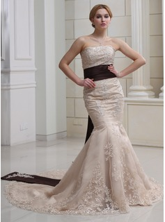 Trumpet/Mermaid Strapless Chapel Train Satin Wedding Dress With Sash Beading Appliques Lace Sequins (002012894)