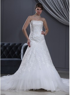 A-Line/Princess Sweetheart Chapel Train Satin Tulle Wedding Dress With Lace Beadwork (002000165)